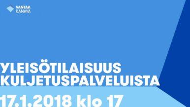 Yleisötilaisuus kuljetuspalveluista 17.1. kello 17